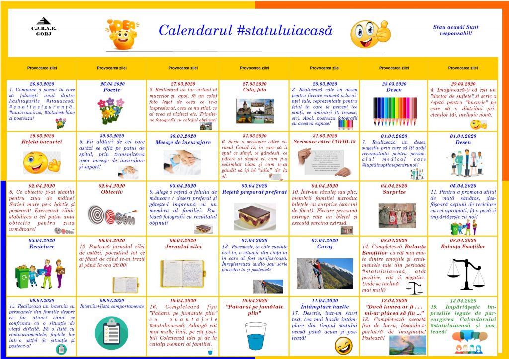 Calendarul statului acasă